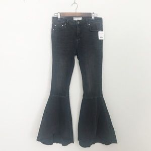 FREE PEOPLE Ruffle Super Flare Black Washed Jeans